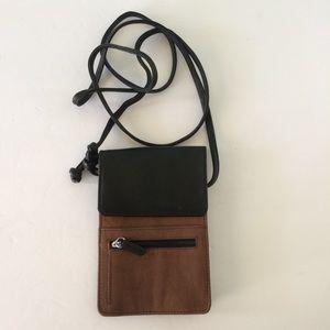Handbags - Crossbody Brown & Black Leather Wallet/Bag